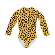 בגד ים שלם ארוך חברבורות צהוב שחור