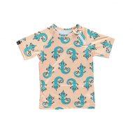 חולצת בגד ים קצרה בצבע אפרסק עם הדפס