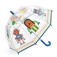 מטריה שקופה לילדים עם איורי רובוטים