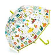 מטריה שקופה לילדים עם איורי תחבורה