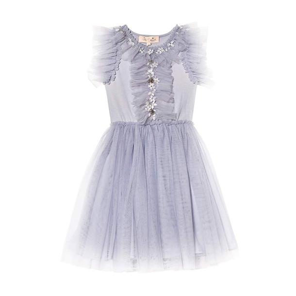שמלה חגיגית בצבע אפור עם טול, חרוזים ופרחים