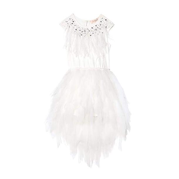 שמלת טול לבנה ללא כתפיות לילדות