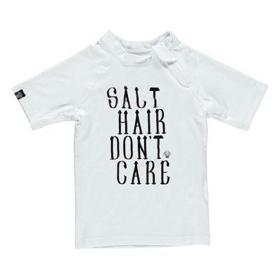 חולצת בגד ים שרוול קצר לבנה