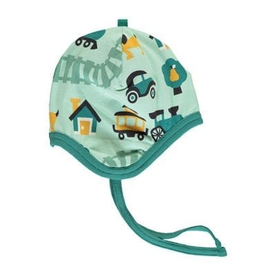 כובע לפעוטות עם קשירה וציורי מכוניות