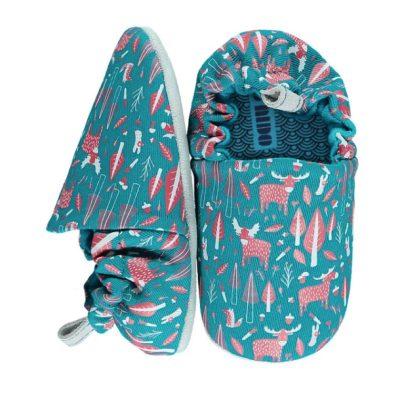 נעלי בד לתינוקות ירוקות מאויירות