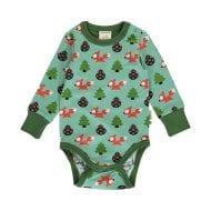 בגד גוף ירוק לתינוקות עם הדפס