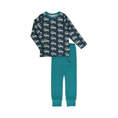 פיג׳מה חורפית לילדים בכחול וירוק