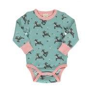 בגד גוף לתינוקות בירוק וורוד עם הדפס במבי