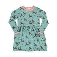 שמלה ירוקה לילדות עם הדפס במבי