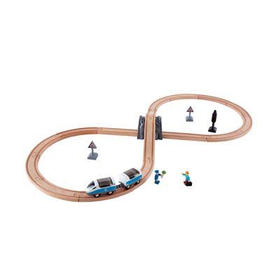 רכבת עץ לילדים עם מסילה