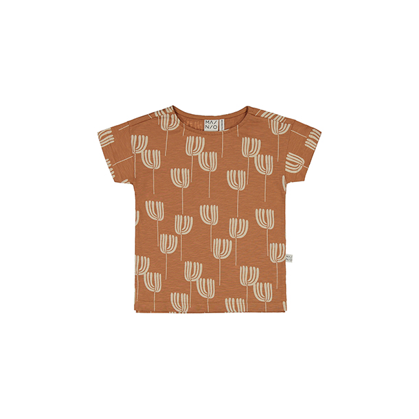 חולצה מודפסת בצבע חום בהיר מכותנה אורגנית