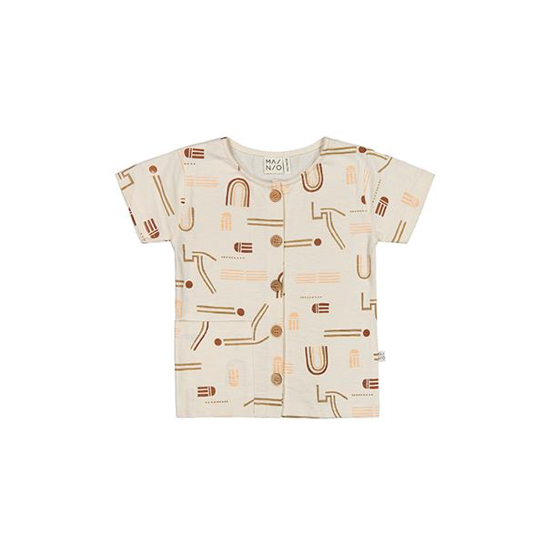 חולצה עם כפתורים מכותנה אורגנית לילדים ותינוקות
